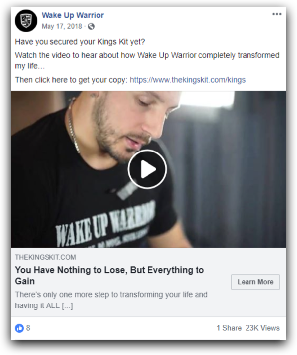 Wake Up Warrior Facebook Ad | Tier 11