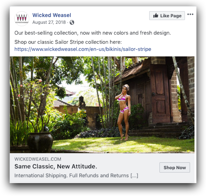 Wicked Weasel Facebook Compliant ad